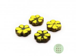 9mm チェコビーズ テーブルカット ピカソ 6弁のデイジーフラワー イエロー(チェコガラスビーズ/黄色/花)4個セット