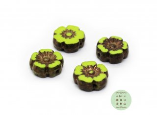 10mm チェコビーズ テーブルカット ハイビスカス アボカドグリーン&ブロンズ ピカソ(チェコガラスビーズ/フラワー/花)4個セット