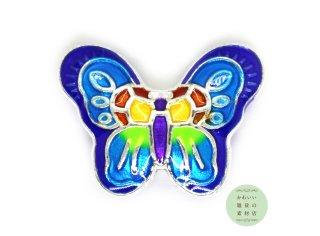 美しい虹色の蝶の大きめエナメルビーズ(レインボー/シルバー/チャーム)
