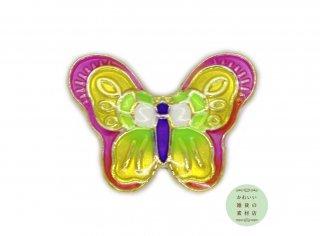 ピンク・イエロー・ライトグリーンが美しい蝶の大きめエナメルビーズ(ゴールド/チャーム)