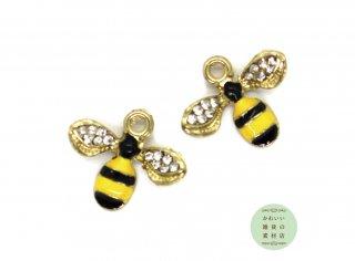【再販】羽根にキラキラ☆ラインストーンのついたミツバチのエナメルチャーム 2個セット