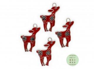 昭和レトロな雰囲気の子鹿のエナメルチャーム(バンビ/コジカ/シカ/レッド)4個セット