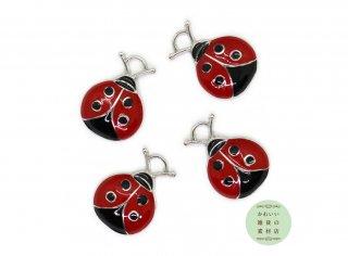 ぷっくりかわいい♪赤いてんとう虫の半立体エナメルチャーム 4個セット
