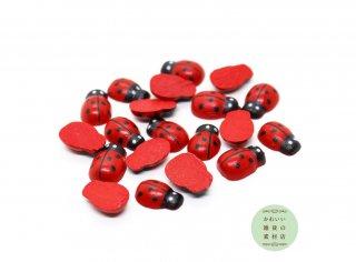 てんとう虫(テントウムシ)の小さなウッドパーツ(木製/ナチュラル/チャーム/キッズ)20個セット