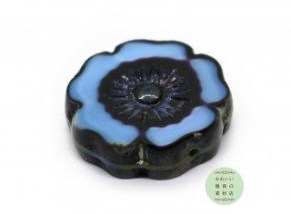 22mm チェコビーズ テーブルカット ハイビスカス アリスブルー(チェコガラスビーズ/フラワー/花)1個