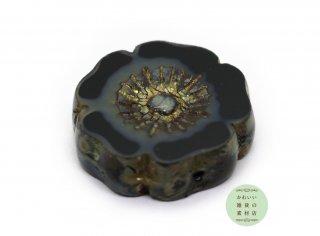 22mm チェコビーズ テーブルカット ハイビスカス ブラック(チェコガラスビーズ/フラワー/花)1個