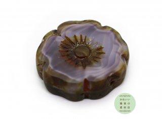 22mm チェコビーズ テーブルカット ハイビスカス マーブルパープル(チェコガラスビーズ/フラワー/花)1個