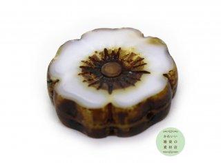 22mm チェコビーズ テーブルカット ハイビスカス ミルキーホワイト(チェコガラスビーズ/フラワー/花)1個