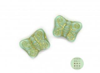 ミントグリーンにゴールドのラインの蝶のチェコビーズ(チェコガラスビーズ/バタフライ)2個セット