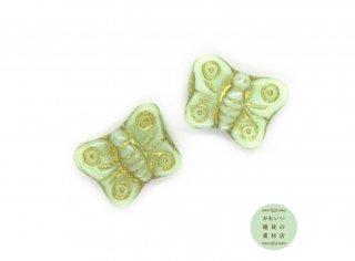 ライトミントグリーンにゴールドのラインの蝶のチェコビーズ(チェコガラスビーズ/バタフライ)2個セット