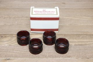 Ruby Red Glass Napkin Ring Set