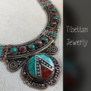 トライバル ネックレス ◆ チベットジュエリー ターコイズ サンゴ 民族アクセサリー