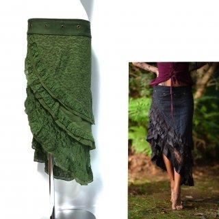 インドコットン ジプシーアシンメトリー巻きスカート ◆◇  ハンドメイドクロシェット