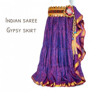 インドサリー ジプシースカート 03 玉虫 パープル ◆ 10ヤードシルクサリー