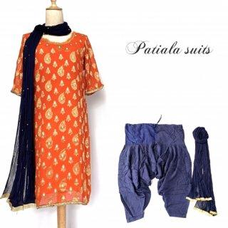 インド民族衣装 パンジャビドレス <オレンジxネイビー> パティアラスーツ ◆ インド舞踊 ヨガ インドダンス ボリウッド インドフュージョン アバヤ ラジャスタン