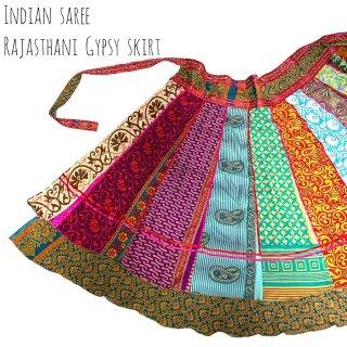 インドサリー◇ジプシーパネルスカート 03 ◆ インド 民族衣装 ボヘミアン ラジャスタン ベリーダンス インド舞踊