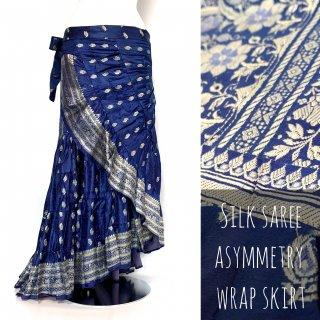 インド シルクサリー アシンメトリー 巻きスカート A3 ◆ シルクサリー ボヘミアン エスニック ジプシー ヴィンテージ ワンピース
