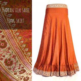 インドシルクサリー 裾フリル ロングスカート 07 ◆ シルクサリー ボヘミアン エスニック ジプシー ヴィンテージ ワンピ
