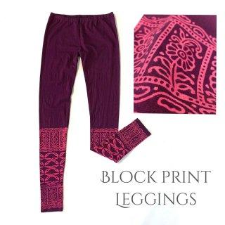 ブロックプリントレギンス 12分丈◆◇Block print leggings