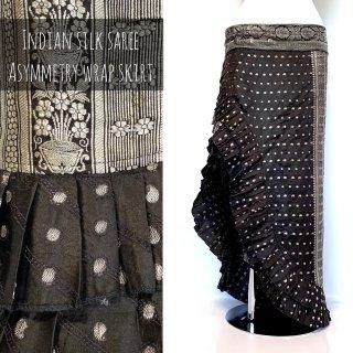 インドシルクサリー アシンメトリー巻きスカート /C7*ブラック