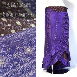 インドシルクサリー アシンメトリー巻きスカート /B13*青紫xブロンズ
