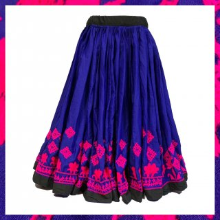 <img class='new_mark_img1' src='https://img.shop-pro.jp/img/new/icons1.gif' style='border:none;display:inline;margin:0px;padding:0px;width:auto;' />Rajasthani gypsy skirt * vintage * ラジャスタン刺繍スカート バンジャラ《ロイヤルブルーxピンク》