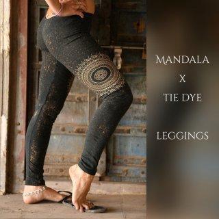 マンダラプリントxタイダイ 12分丈レギンス オーガニックコットン◆◇Mandala print leggings