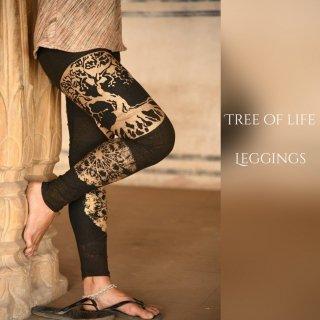 ツリーオブライフ 12分丈レギンス オーガニックコットン《ゴールドxタイダイ》◆◇Mandala print leggings