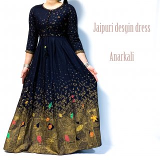 <img class='new_mark_img1' src='https://img.shop-pro.jp/img/new/icons1.gif' style='border:none;display:inline;margin:0px;padding:0px;width:auto;' />Jaipuri  Anarkali dress ◆マキシ丈ワンピース<濃紺xゴールド>◆刺し子エスニックボヘミアン