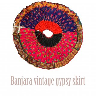 Banjara gypsy skirt #5 vintage * ラジャスタンバンジャラスカート《フーシャピンクxネイビーブルー》フルサーキュラー