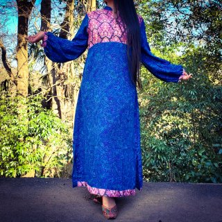 VintageLike dress ◆Balloon sleeve ロータスxペイズリー◆マキシ丈ワンピース◆ボヘミアン