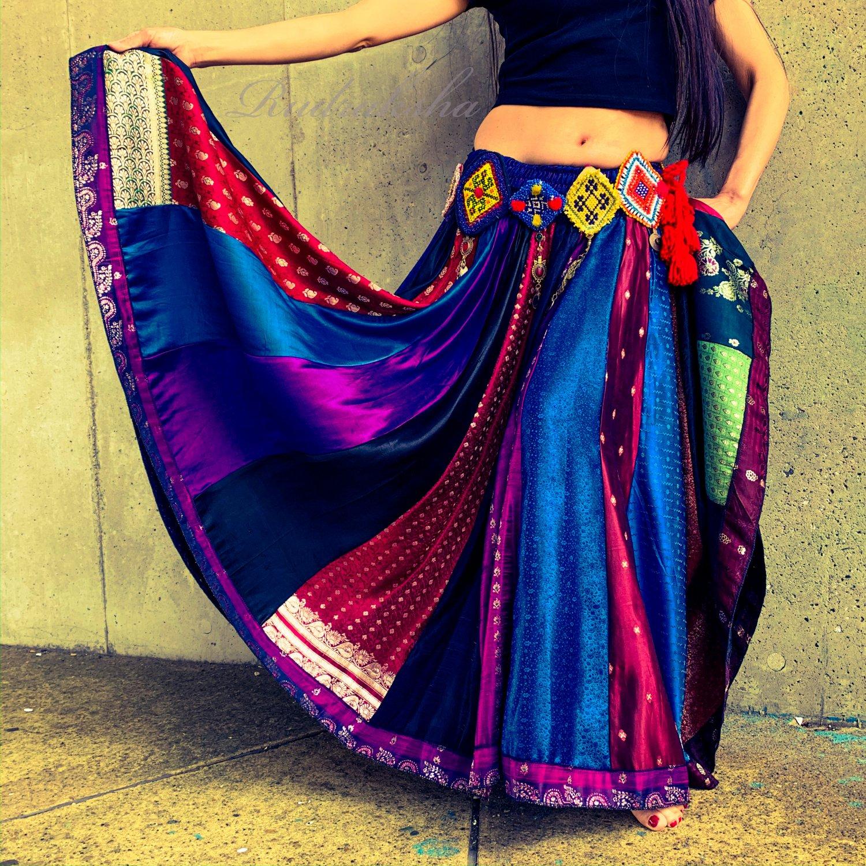 ジプシーサーキュラースカート◆インドシルクサリー◆ベリーダンスフォークロア衣装・民族衣装・ダンス衣装
