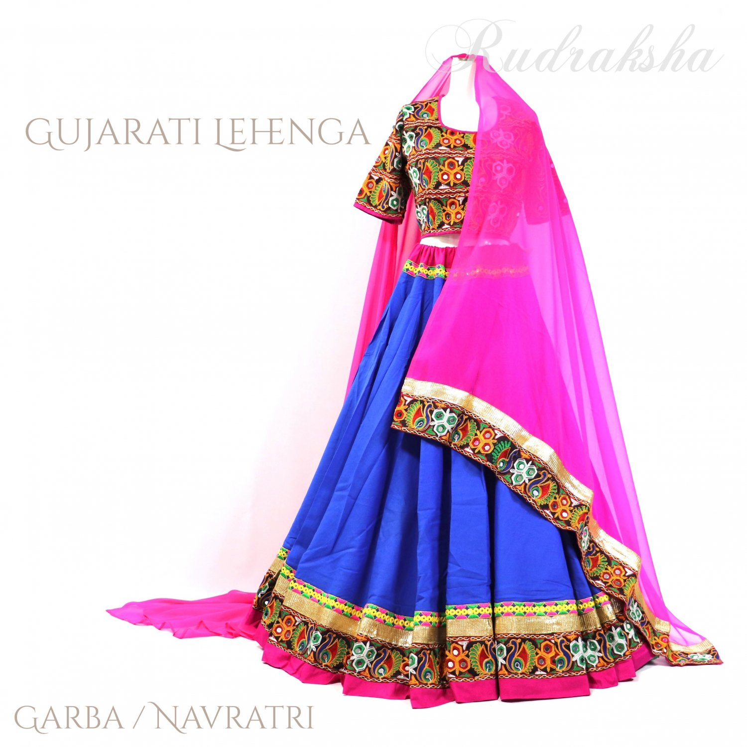 <img class='new_mark_img1' src='https://img.shop-pro.jp/img/new/icons1.gif' style='border:none;display:inline;margin:0px;padding:0px;width:auto;' />Rajasthani Lehenga <ロイヤルブルーxピンク> ◇◆ インド民族衣装 ラジャスタンレヘンガ