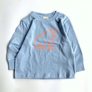 shirokuma / shirokuma  Logo Kids LS T-shirt - light blue