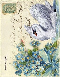 monahan:デコパージュ用ペーパーBlue Bouquet Swan - X308