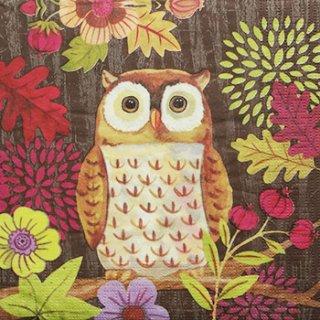 ペーパーナプキン(33)ppd:(5枚)Autumn Owl ブラウン-PP141