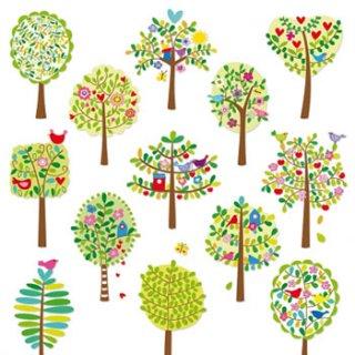 ペーパーナプキン(33)ppd:(5枚)Spring City Trees -PP166