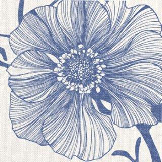 ペーパーナプキン(33)ppd:(5枚)Sea Flower linen indigo -PP168