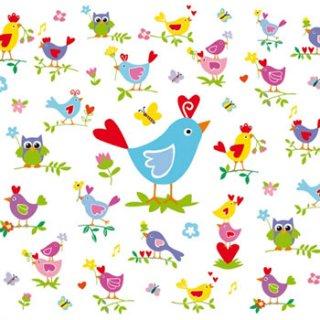 ペーパーナプキン(33)ppd:(5枚)Birds & Chickens-PP170