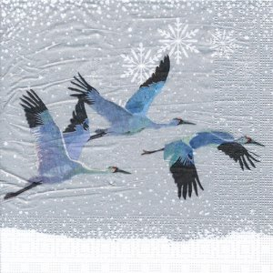 ペーパーナプキン(33)ppd:(5枚)Snowfall Cranes-PP217