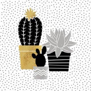 ペーパーナプキン(33)ppd:(5枚)Cactus black gold-PP284