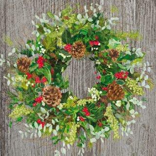 ペーパーナプキン(33)ppd:(5枚)Yuletide Wreath Wood-PP289