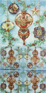 ペーパーナプキン(25)PS:(5枚)Elegant Ornament 43239(ブルー)-PS4