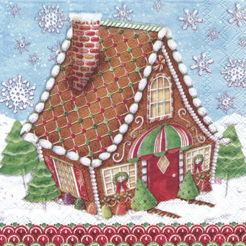 ペーパーナプキン(25)PS:(5枚)Gingerbread Houses 53671-PS15(25)
