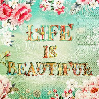 ペーパーナプキン(33)PS:(5枚)LIFE IS BEAUTIFUL-PS3