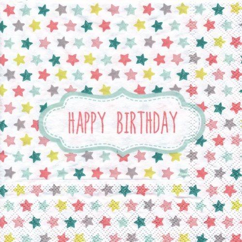 ペーパーナプキン(33)StewoAG:(5枚)Happy Birthday スター-ST55