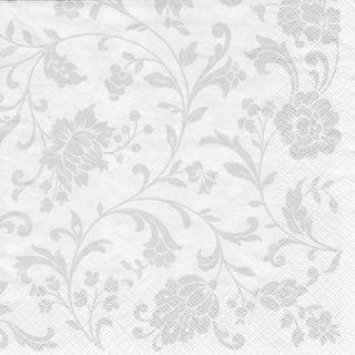 ペーパーナプキン(33)ti-flair:(5枚)Arabesque  White silver-white-TI76