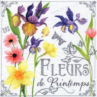 ペーパーナプキン(33)ti-flair:(5枚)Fleurs de Printemps パープル-TI96