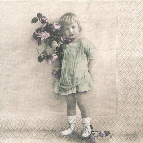 ペーパーナプキン(33)Sagen:(5枚)【36】女の子と花