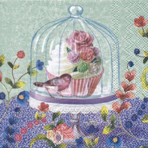 ペーパーナプキン(25)AMB:(5枚)Cupcake in Glass-AM54(25)
